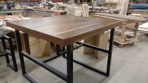 19 Walnut Bar Height Top with Metal Base